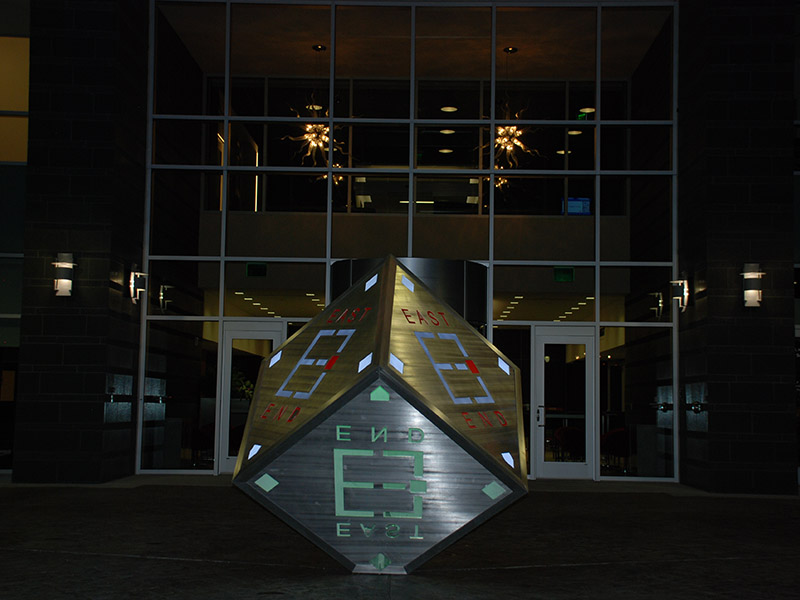 Dow East End cube at night